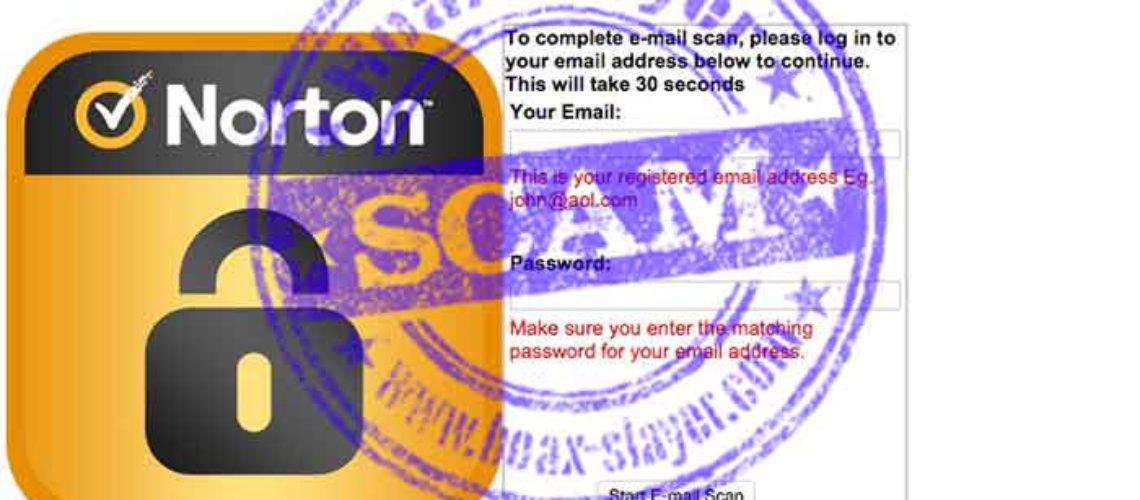 Attenzione di un Email fraudolento con il Norton Antivirus