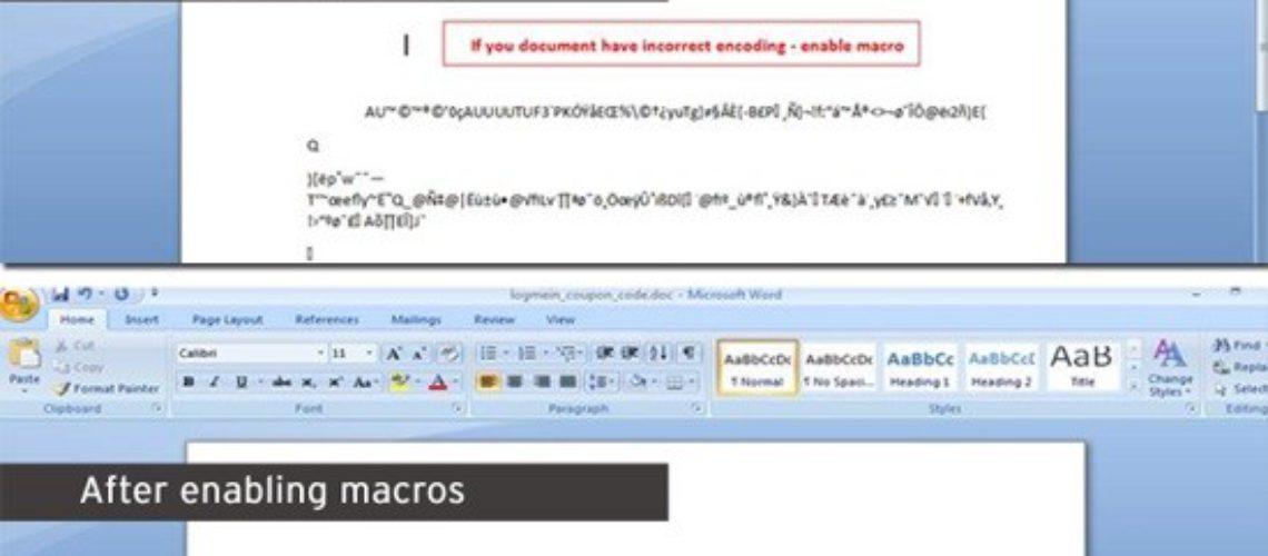 Ondsinnet Macro for Microsoft Word nedlastinger Vawtrak Trojan