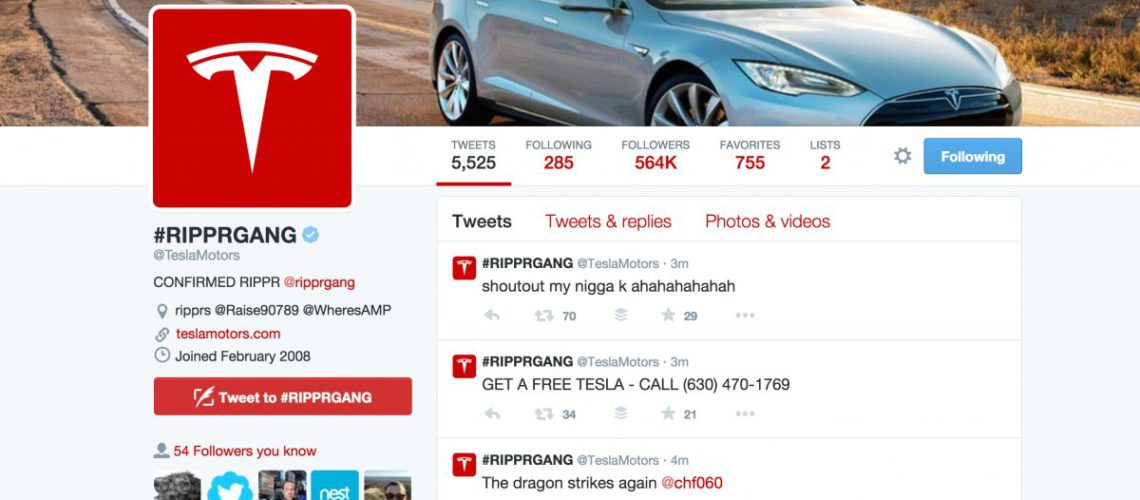 Conta Twitter Tesla Motors e site Hacked